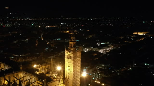 night view of sevilla cathedral / seville, spain - cathedral stock videos & royalty-free footage