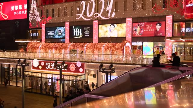 night view of shopping malls decorated with lights for the spring festival on january 30, 2021 in beijing, china. - chinese culture stock videos & royalty-free footage