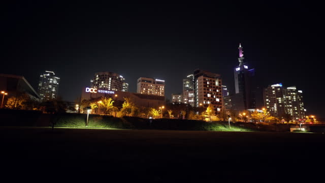 night view of smart city (apartment complex) / yuseong-gu, daejeon, south korea - smart city stock videos & royalty-free footage