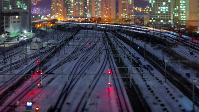 night view of snow covered rail at yongsan station in yongsan-gu, seoul - ornate stock videos and b-roll footage