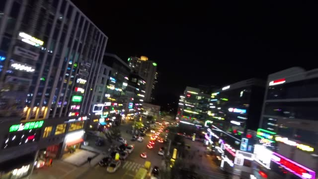 night view of songdo street in incheon, south korea - schwindelig stock-videos und b-roll-filmmaterial