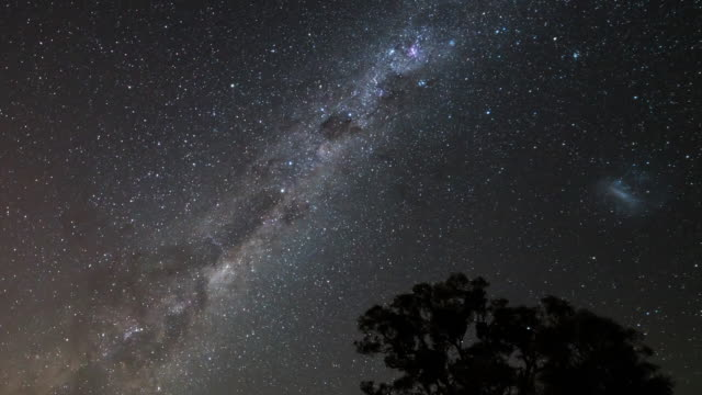 night view of stars diurnal motion and magellanic clouds in milk way in canberra, australia - nebula stock videos & royalty-free footage