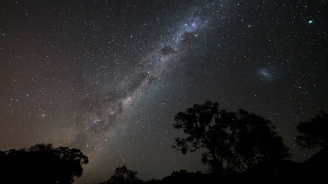 night view of stars diurnal motion and magellanic clouds in milk way in canberra, australia - stars stock videos & royalty-free footage