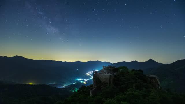 night view of stone seated buddha at yongseondae cliff of gwallyongsa temple and hwawangsan mountain / changnyeong-gun, gyeongsangnam-do, south korea - romantic sky stock videos & royalty-free footage