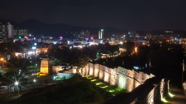 ws t/l night view of suwon hwaseong castle janganmun gate (unesco world heritage) / suwon, kyonggi-do province, south korea - kyonggi do province stock videos and b-roll footage