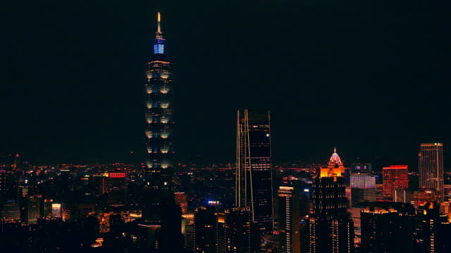 night view of taipei cityscape building of taipei financial city ,taiwan - taipei stock videos & royalty-free footage
