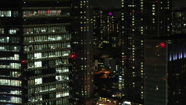 stockvideo's en b-roll-footage met night view of tall buildings on songdo area in incheon - incheon