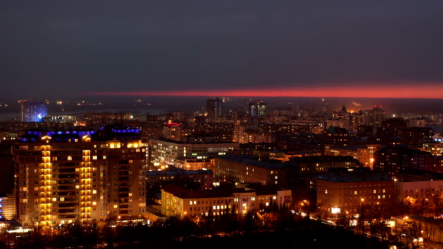 TL Night view of the city, above / Russia, Novosibirsk