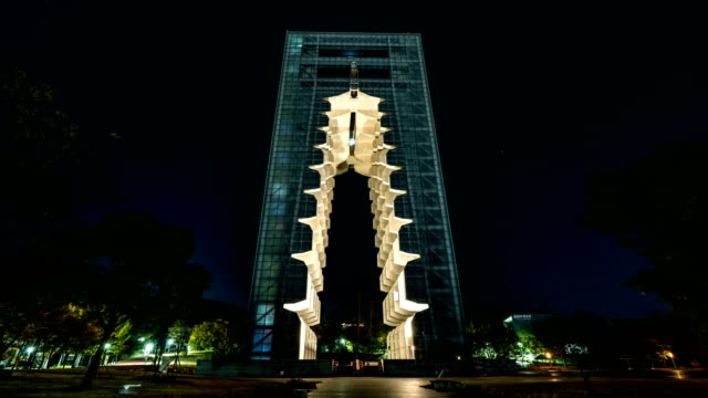 night view of the gyeongju tower in gyeongju world culture expo park - gyeongju stock videos and b-roll footage