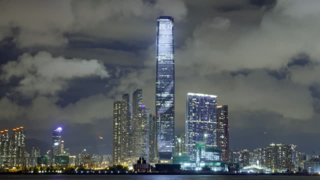 night view of the international commercial center in hong kong - hong kong stock-videos und b-roll-filmmaterial