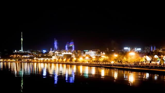 TL Night view of the luminous promenade / Azerbaijan, Baku