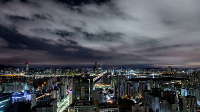 night view of the mapo bridge (across the han river) and the yeouido financial district, seoul - 4k resolution stock videos & royalty-free footage