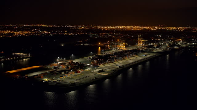 AERIAL Night view of the shipping docks