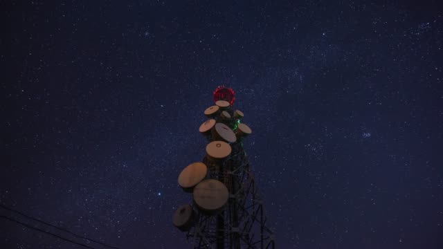 night view of the telecommunication tower with starfield at oenalo island in goheunggun, jeollanam-do - mast stock videos & royalty-free footage