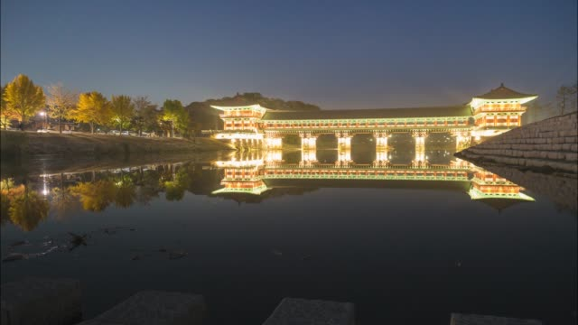 night view of the woljeong-gyo bridge(it was built in the period of united silla) in gyeongju - gyeongju stock videos & royalty-free footage