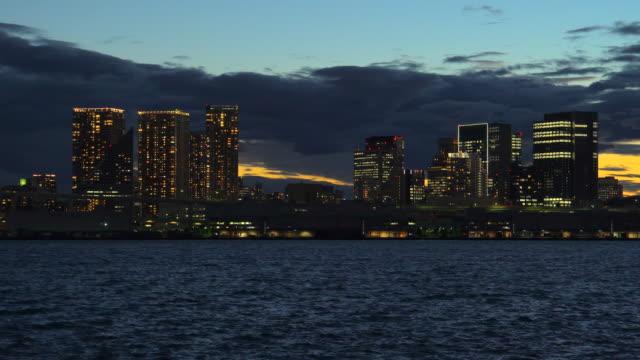 night view of tokyo bay - tokyo bay stock videos & royalty-free footage