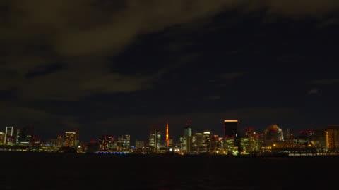 night view of tokyo bay - riverbank stock videos & royalty-free footage