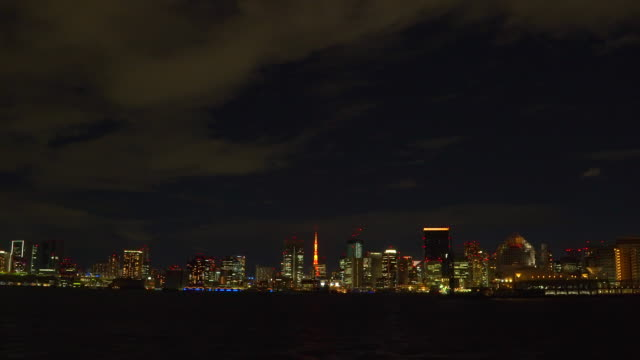 night view of tokyo bay - riverbank stock videos & royalty-free footage