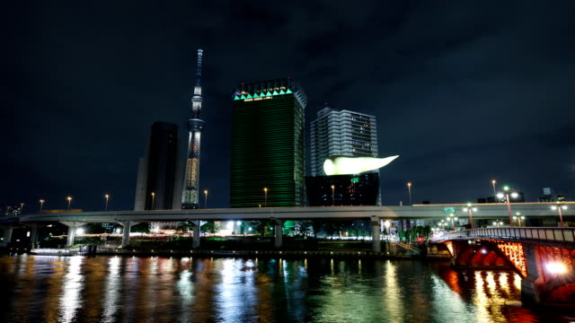 Night view of Tokyo Sky Tree and skyscrapers on Sumida River in Tokyo, Japan