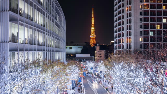 t/l ws ha zo night view of tokyo tower and keyakizaka dori at roppongi / tokyo, japan - roppongi stock videos and b-roll footage