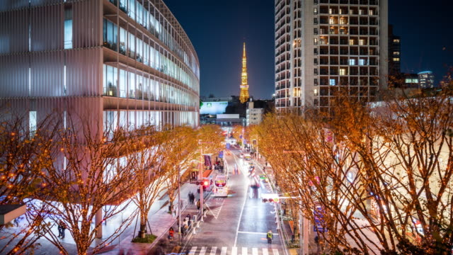 t/l ws ha night view of tokyo tower and keyakizaka dori at roppongi / tokyo, japan - roppongi stock videos and b-roll footage