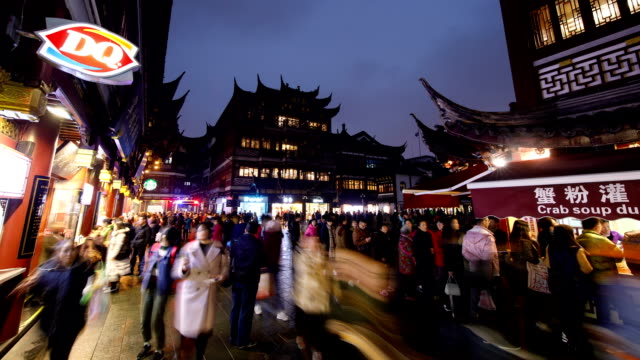 night view of tourists on yu yuan gardens in shanghai, china - classical chinese garden stock videos & royalty-free footage