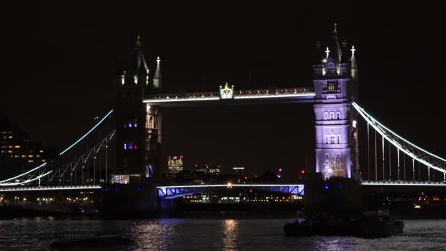 night view of tower bridge, london, united kingdom - spotlight stock videos & royalty-free footage