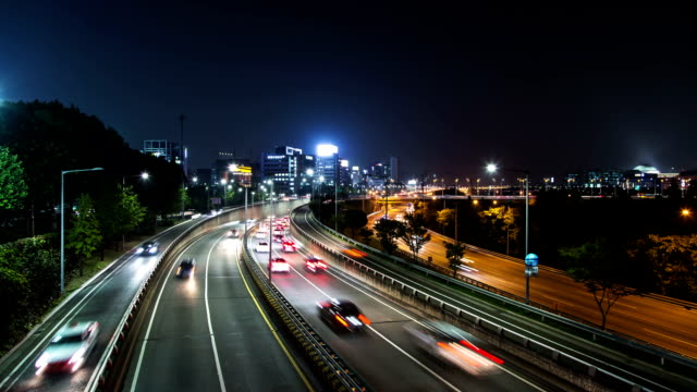 Night view of traffic moving on Olympic highway (This highway is main route of Seoul)