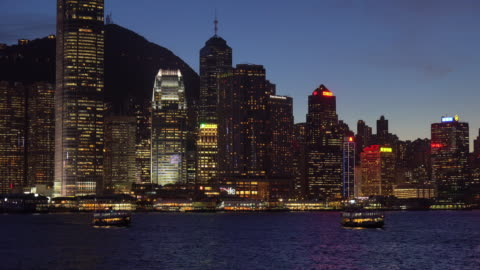 night view of victoria harbour / hong kong, china - real time stock videos & royalty-free footage
