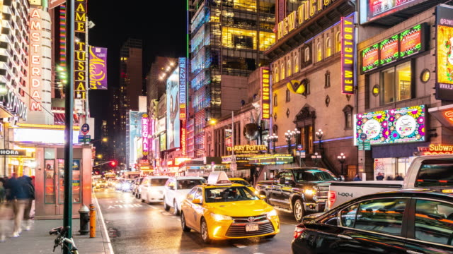 t/l pan night view of w 42nd st / new york city, usa - panning stock videos & royalty-free footage