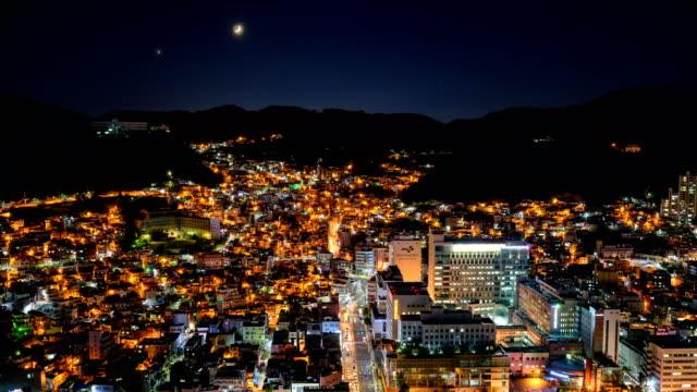 night view of wondoshim(old downtown), seogu district, busan - distant stock videos & royalty-free footage