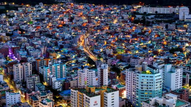 night view of wondoshim(old downtown), seogu district, busan - busan stock videos & royalty-free footage