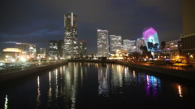 night view of yokohama minato mirai - yokohama stock videos and b-roll footage
