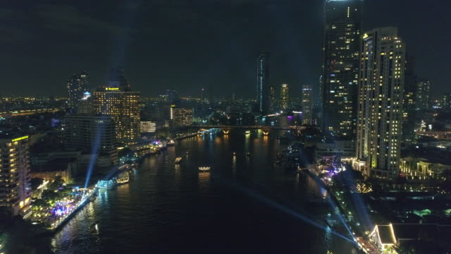 Night view over chaophraya river in bangkok Thailand.