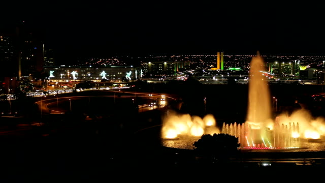night view tv tower and water source , brasilia city, brazil - brasilia stock videos and b-roll footage