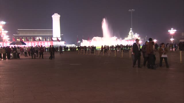night views of tiananmen square; more shots of museum of the revolution and chinese history along past monument to the people's hero and a central... - tiananmen gate of heavenly peace stock videos & royalty-free footage