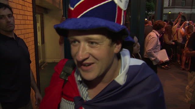 night vox pop with betrand dilasser, a french fan of the british royalty who has come to london with a gift from the french public for the duke and... - vox populi stock videos & royalty-free footage
