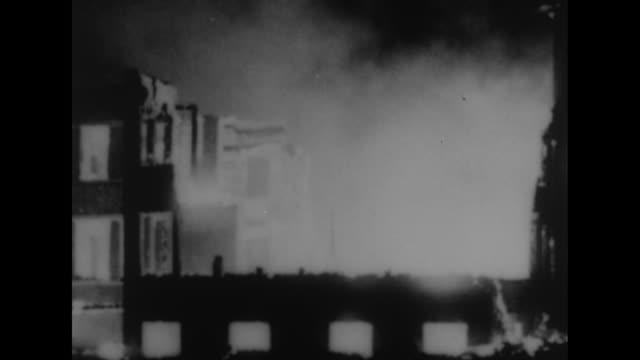 vs fire burns the villa stlouis convent of the grey nuns of the cross after a cf100 rcaf jet crashes into the building / vs portion of building... - christianity stock videos and b-roll footage