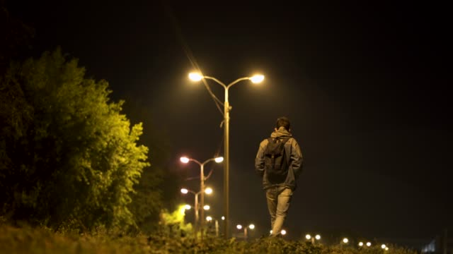 night walk will make things better - one man only stock videos & royalty-free footage