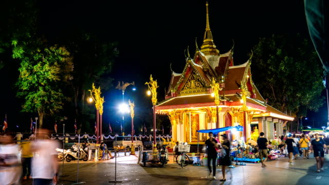 Night Walking Street Market with Illuminated Colorful Shrine, Time lapse video with zoom shot