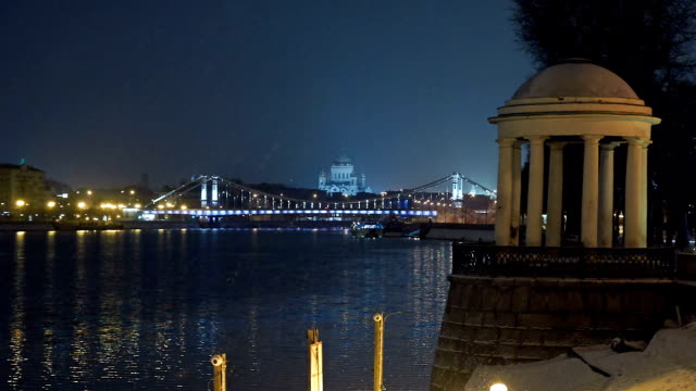 night winter landscape of moscow from embankment - river moscva stock videos & royalty-free footage