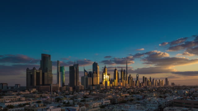 nightfall dubai downtown skyline - skyline stock videos & royalty-free footage