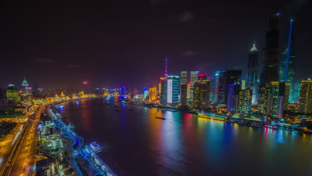 Nightfall looking along Huangpu River towards Bund and Pudong. Shanghai, China