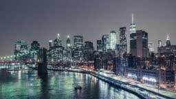 T/L WS TD Nightfall over Manhattan financial district in New York, USA