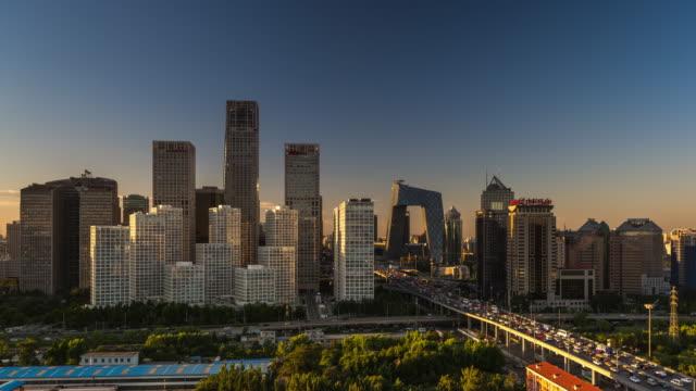 Nightfall Timelapse of Beijing, China (Wide Shot)