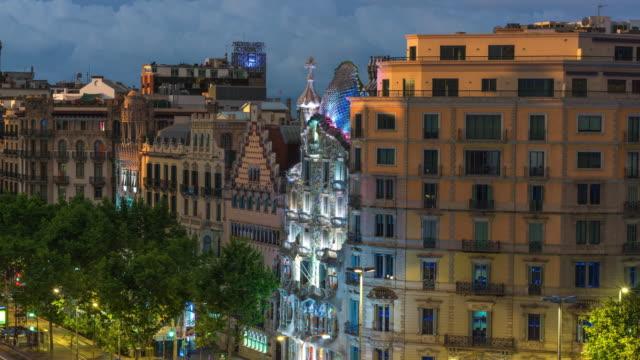 Nightfall Timelapse of Gaudi's Casa Batllo, Barcelona, Spain
