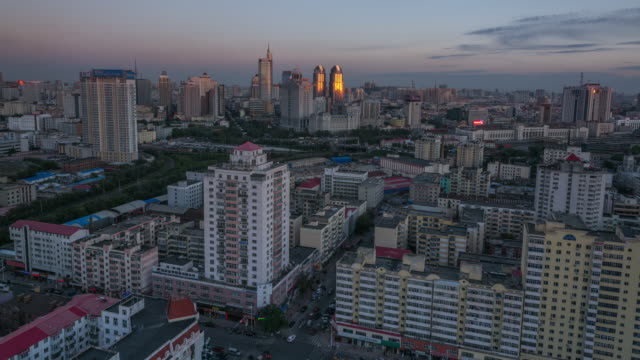 Nightfall Timelapse of Harbin Cityscape, China (Wide View)