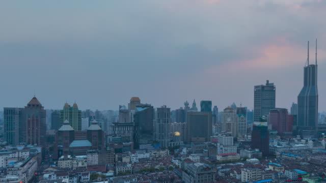 nightfall timelapse of nanjing road and lanehouses, shanghai, china - nanjing road stock videos & royalty-free footage