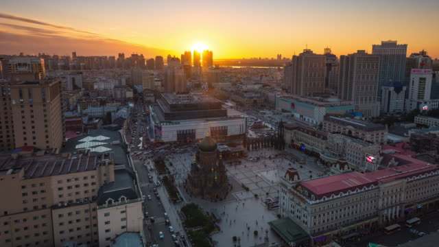 Nightfall Timelapse of Saint Sophia Cathedral, Harbin, China (Wide View)