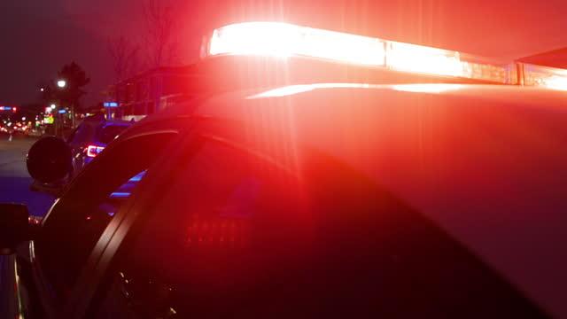 fermata del traffico della polizia di nightime - guida in stato di ebbrezza video stock e b–roll
